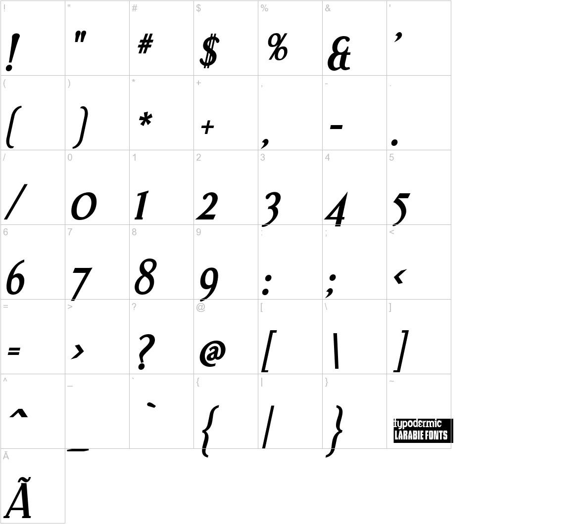 Effloresce Bold Italic characters