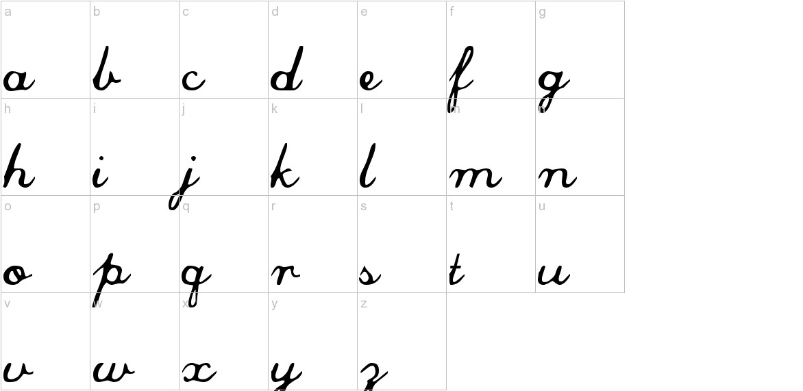 Commercial Script lowercase