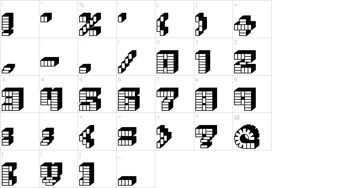 PEZ_font characters