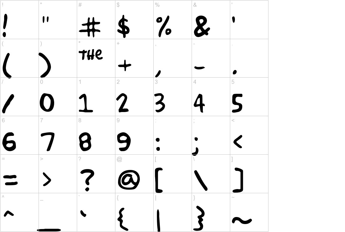 simpsonfont characters