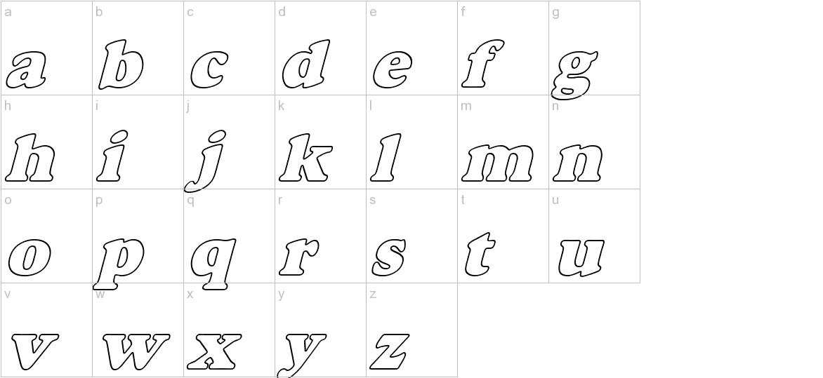 Alfredo Heavy Hollow Italic lowercase