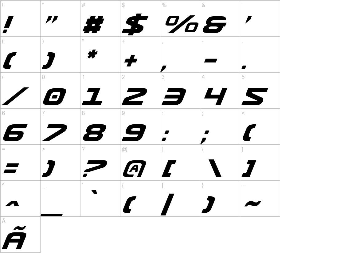 Usuzi Italic characters