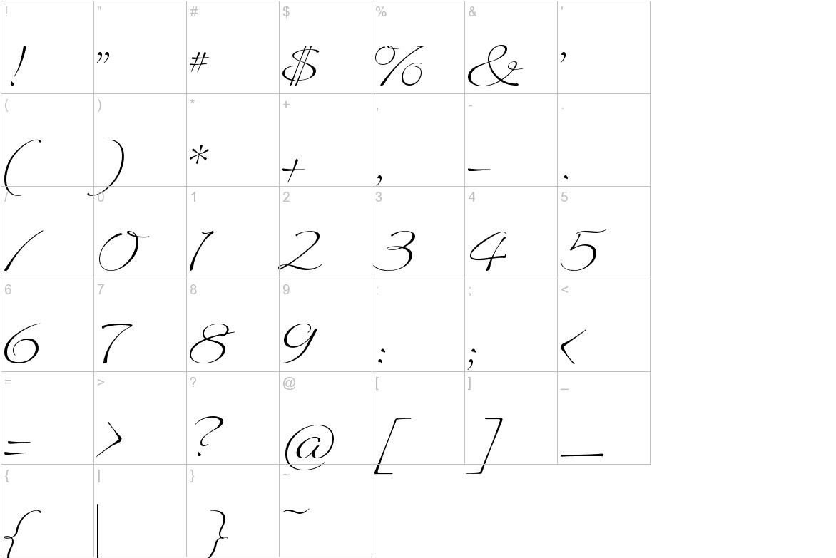 Quilline Script Thin characters