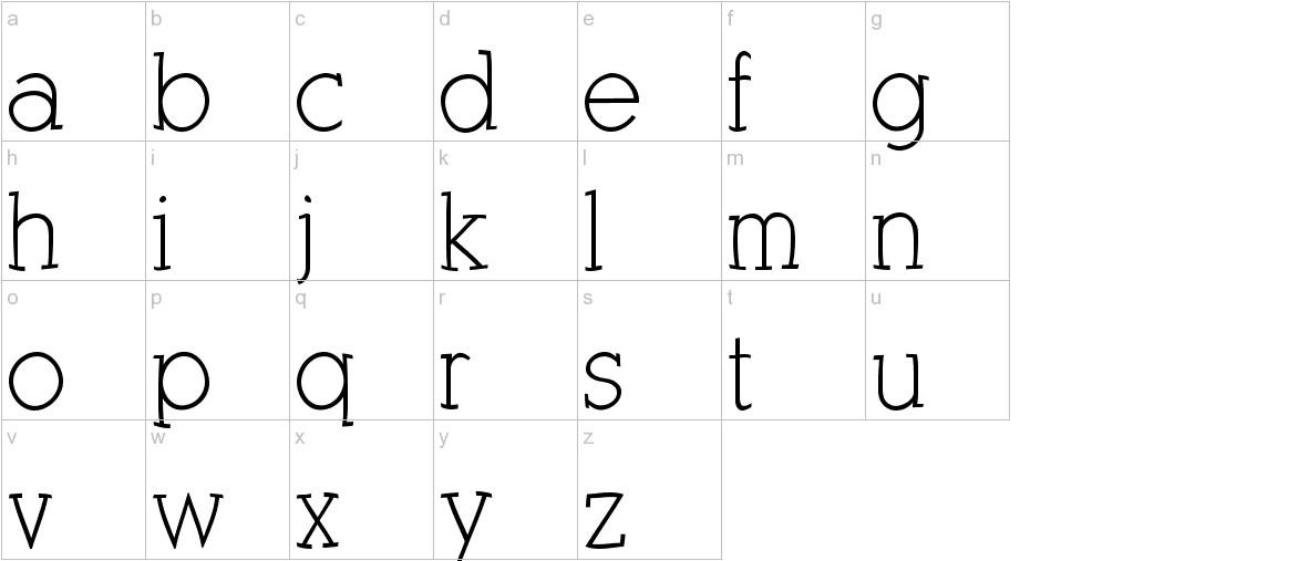KleinSlabSerif lowercase