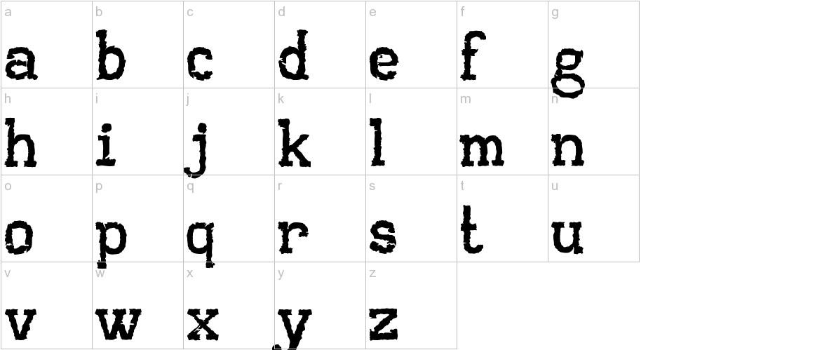 AA Typewriter lowercase