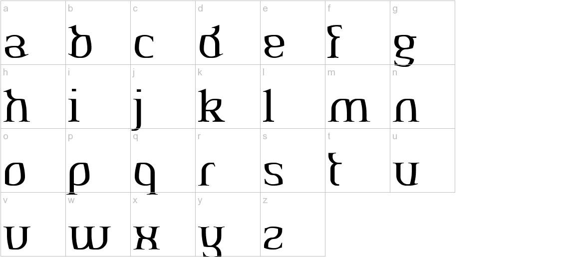 AeshmaDeava RegularOldSerif lowercase