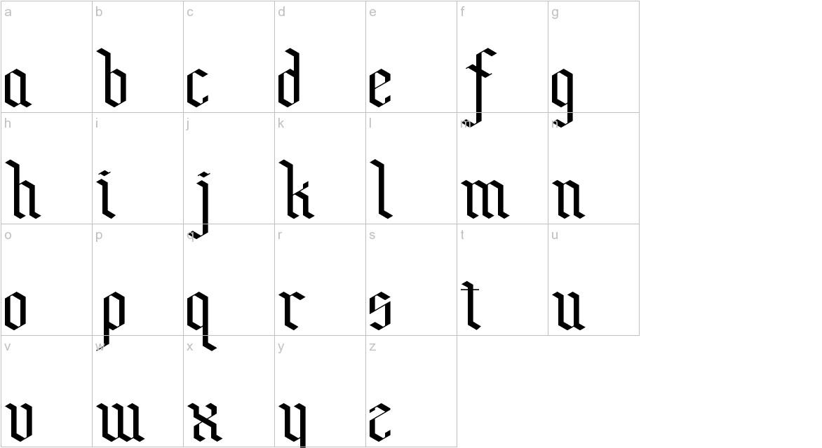 Bensch Gothic lowercase