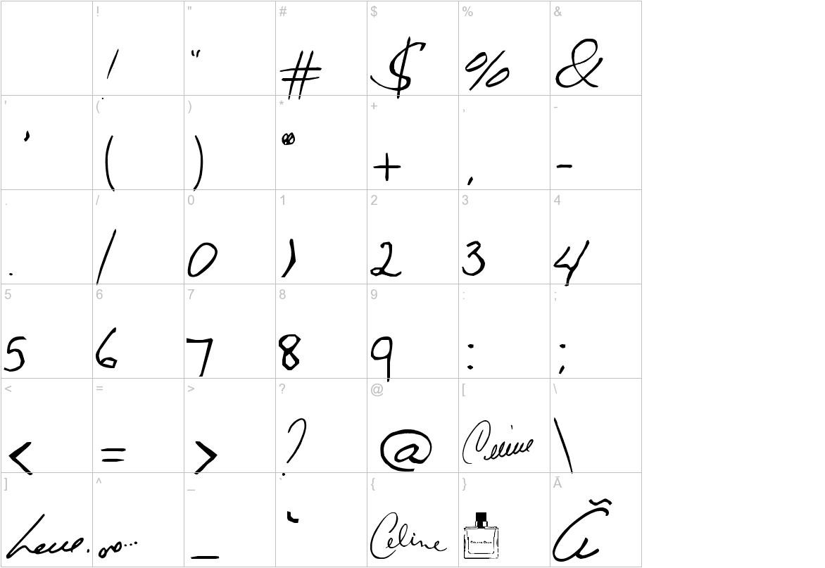 Celine Dion Handwriting characters