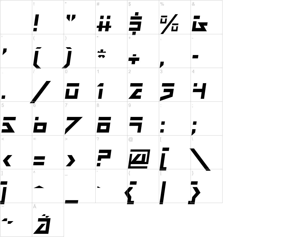 Dark Future Italic characters