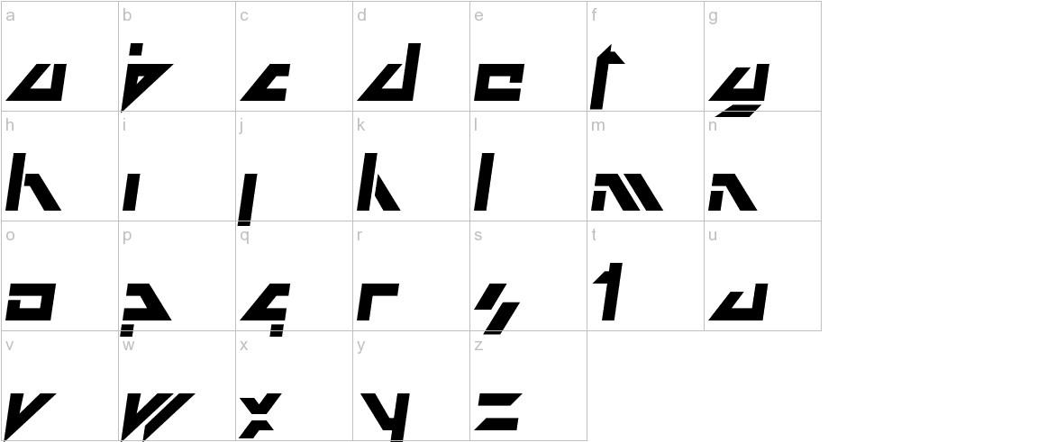 Dark Future Italic lowercase