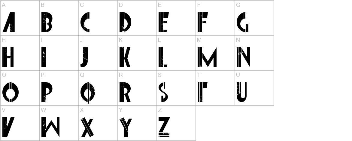 Font Interrupted uppercase