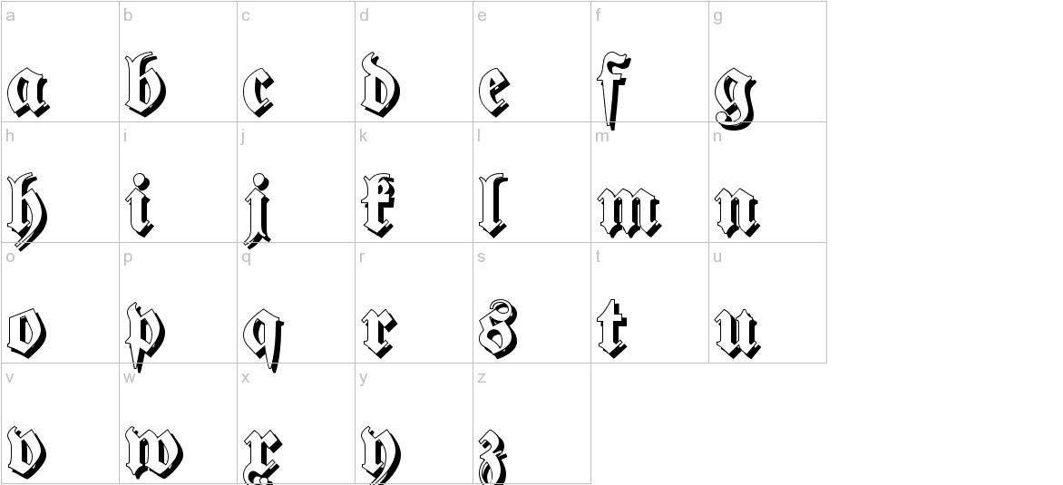 Fraktur Shadowed lowercase
