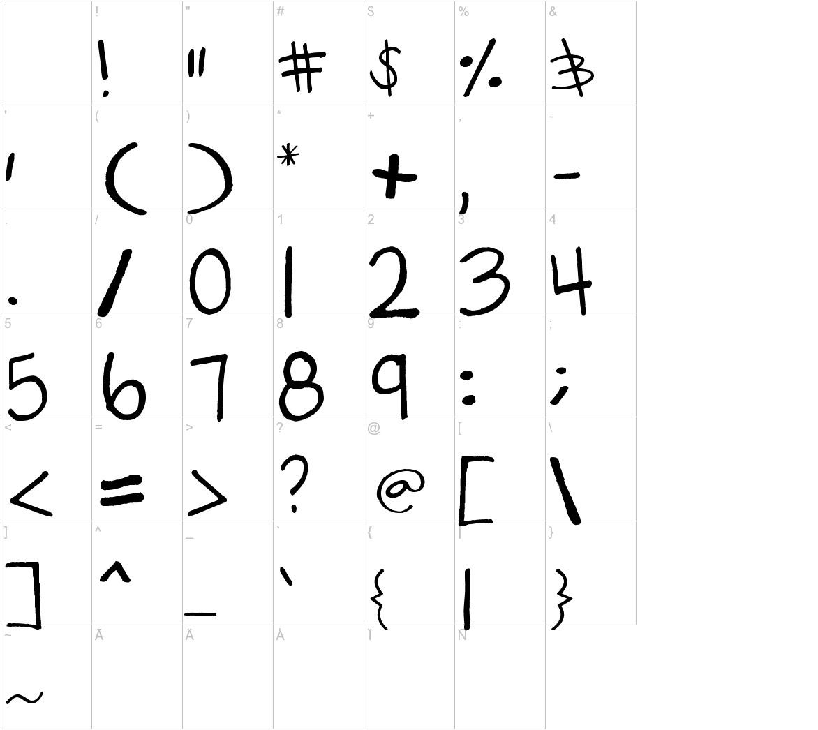 gabiies handwritting characters
