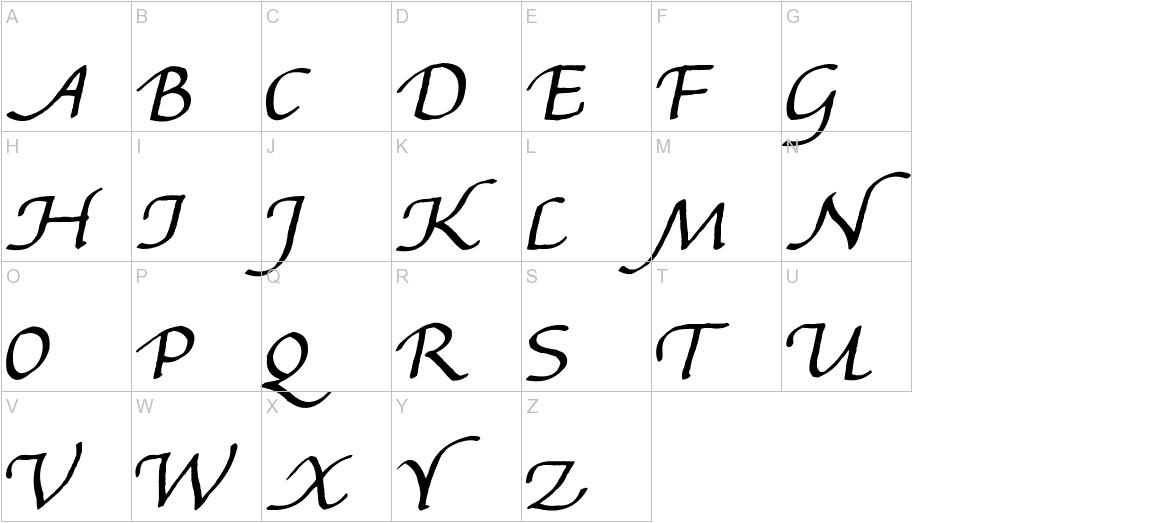 Gourdie Handwriting uppercase
