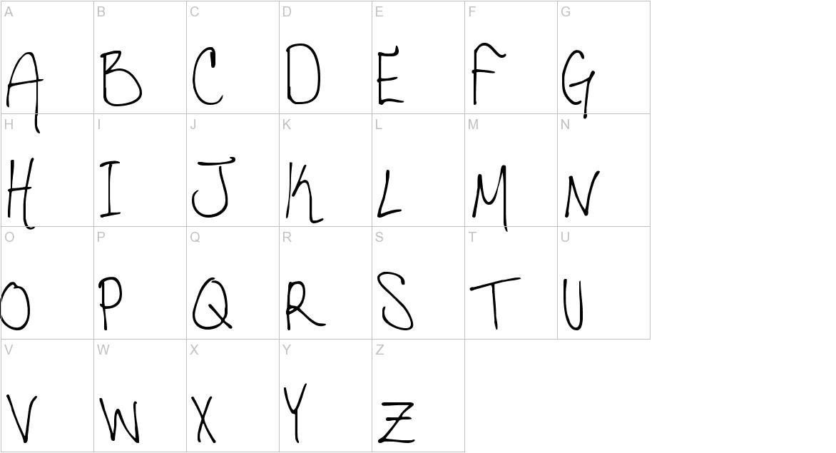 Hannahs Messy Handwriting uppercase