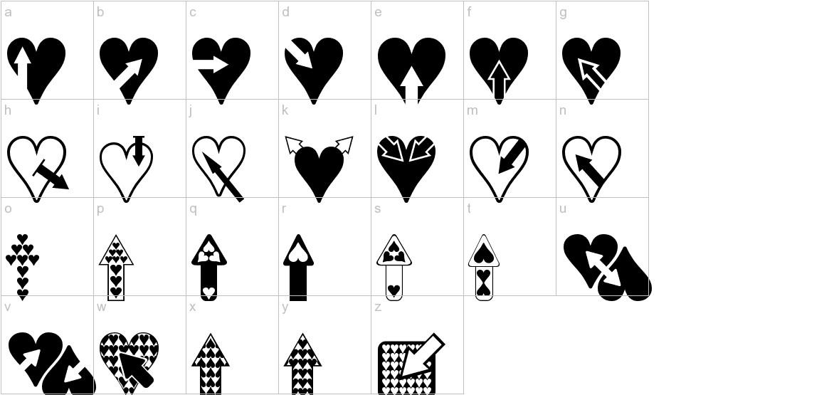 Hearts n Arrows lowercase