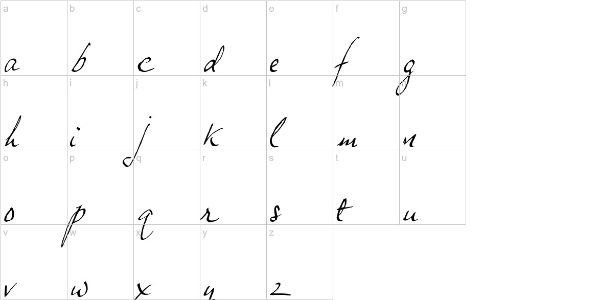 JP Hand Slanted lowercase