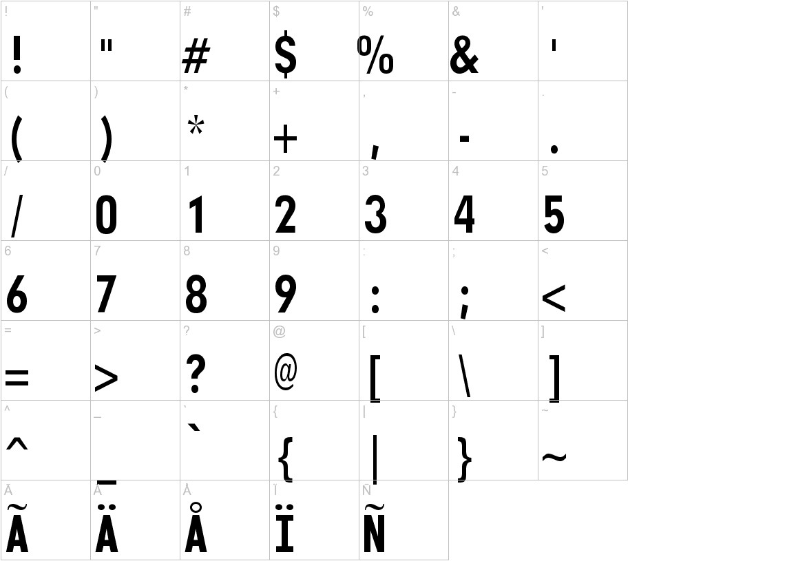 Monofonto characters