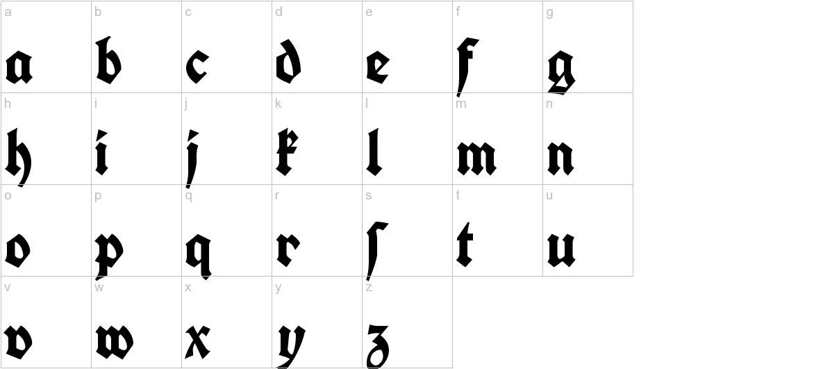 Koch Fette Deutsche Schrift lowercase