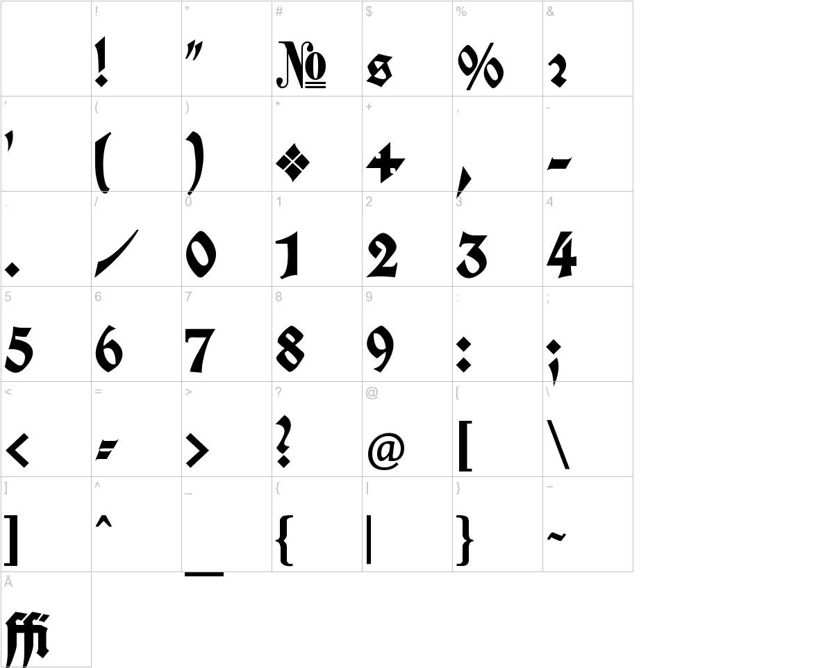 Koch Fette Deutsche Schrift characters