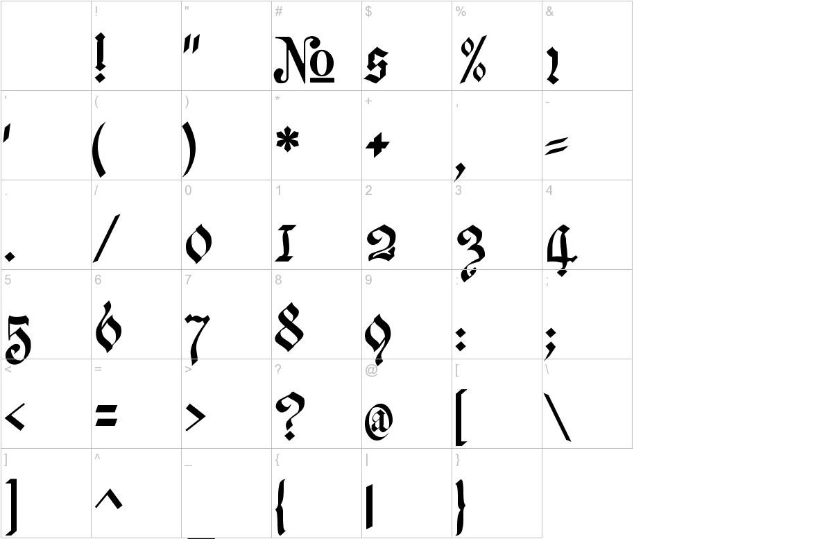 Meyne Textur characters