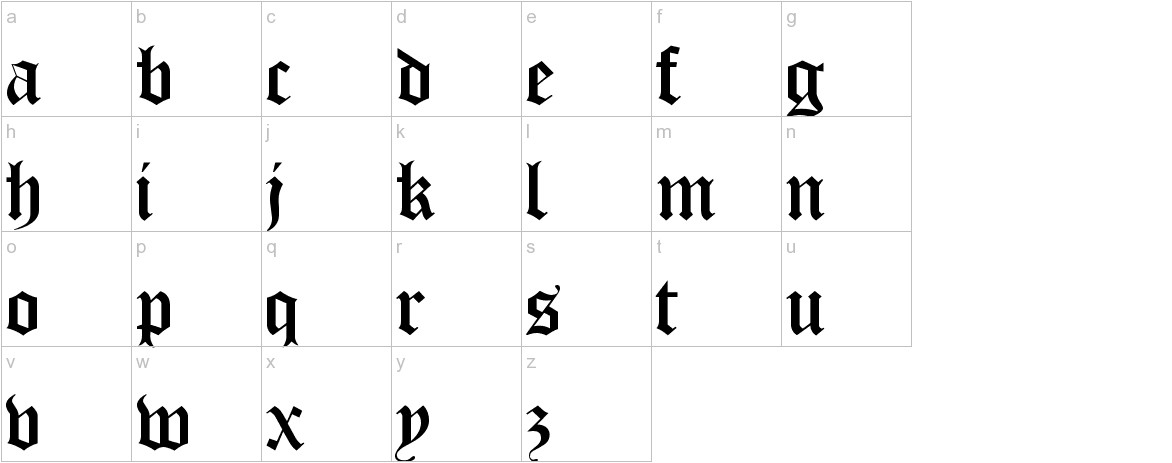 Old London lowercase
