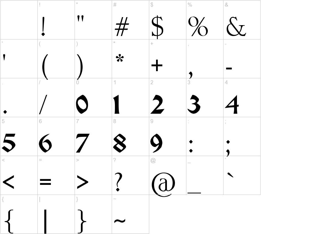 Pauls Celtic Font 1 characters