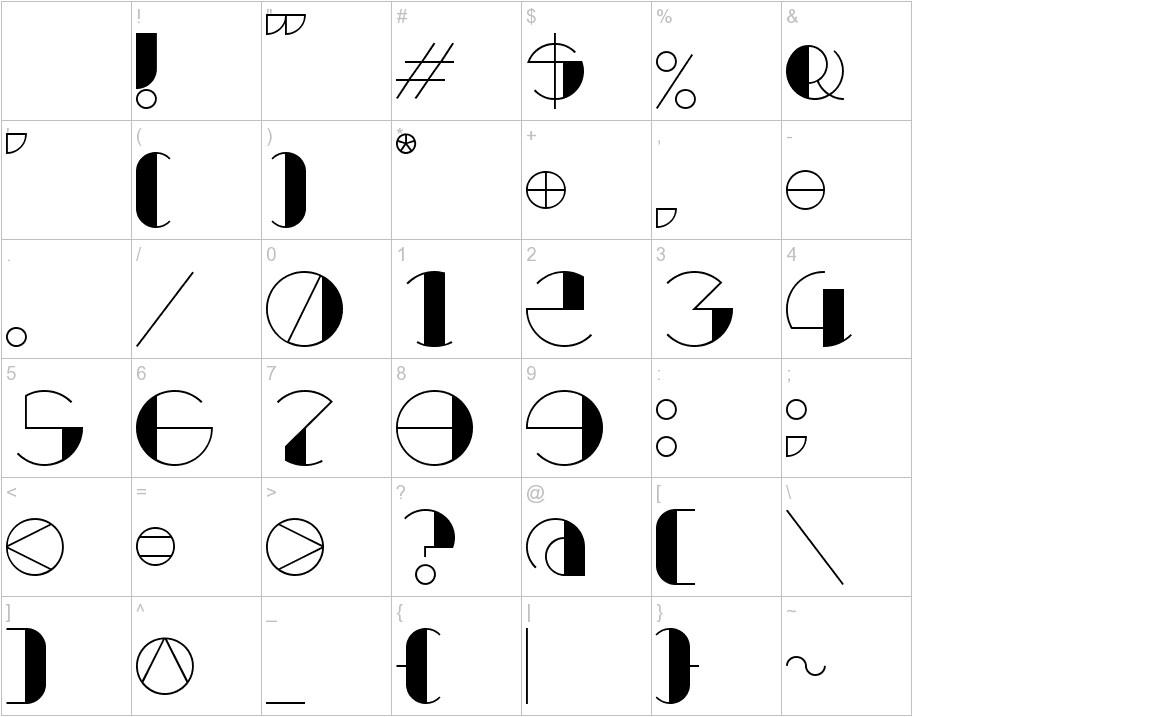 Retrocircular characters