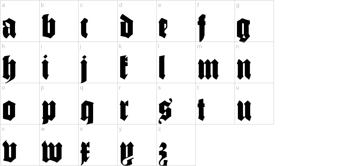 SchmaleGotischMK lowercase