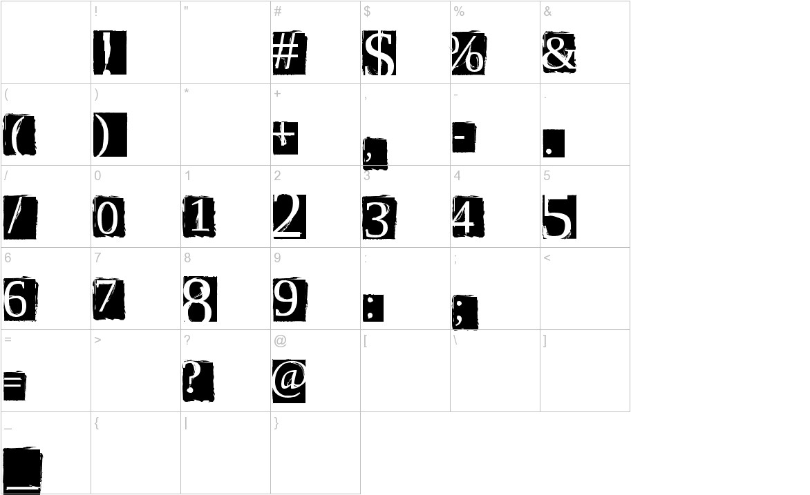 ScriptSERIF characters