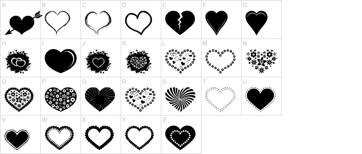 Sexy Love Hearts 2 uppercase