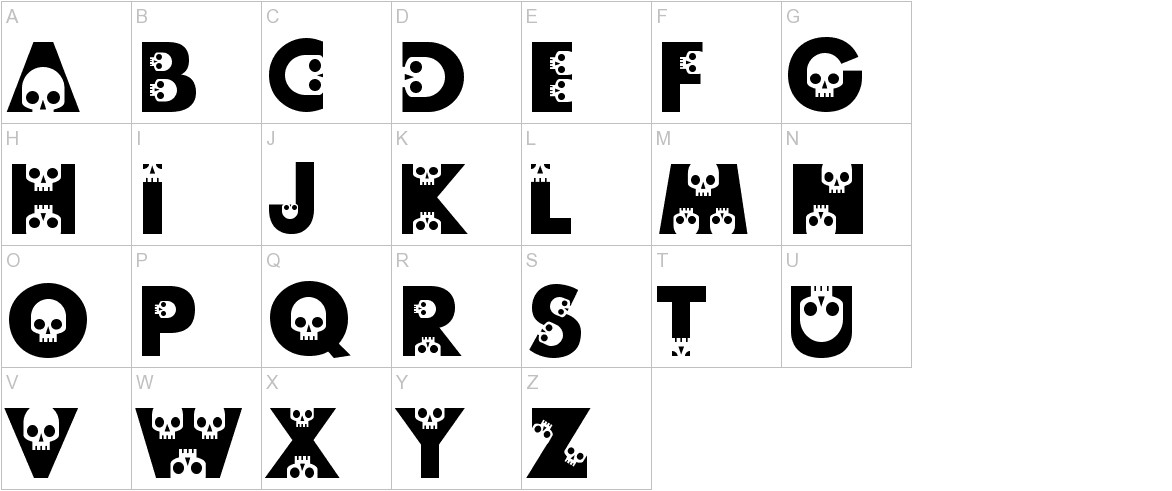 skullphabet uppercase