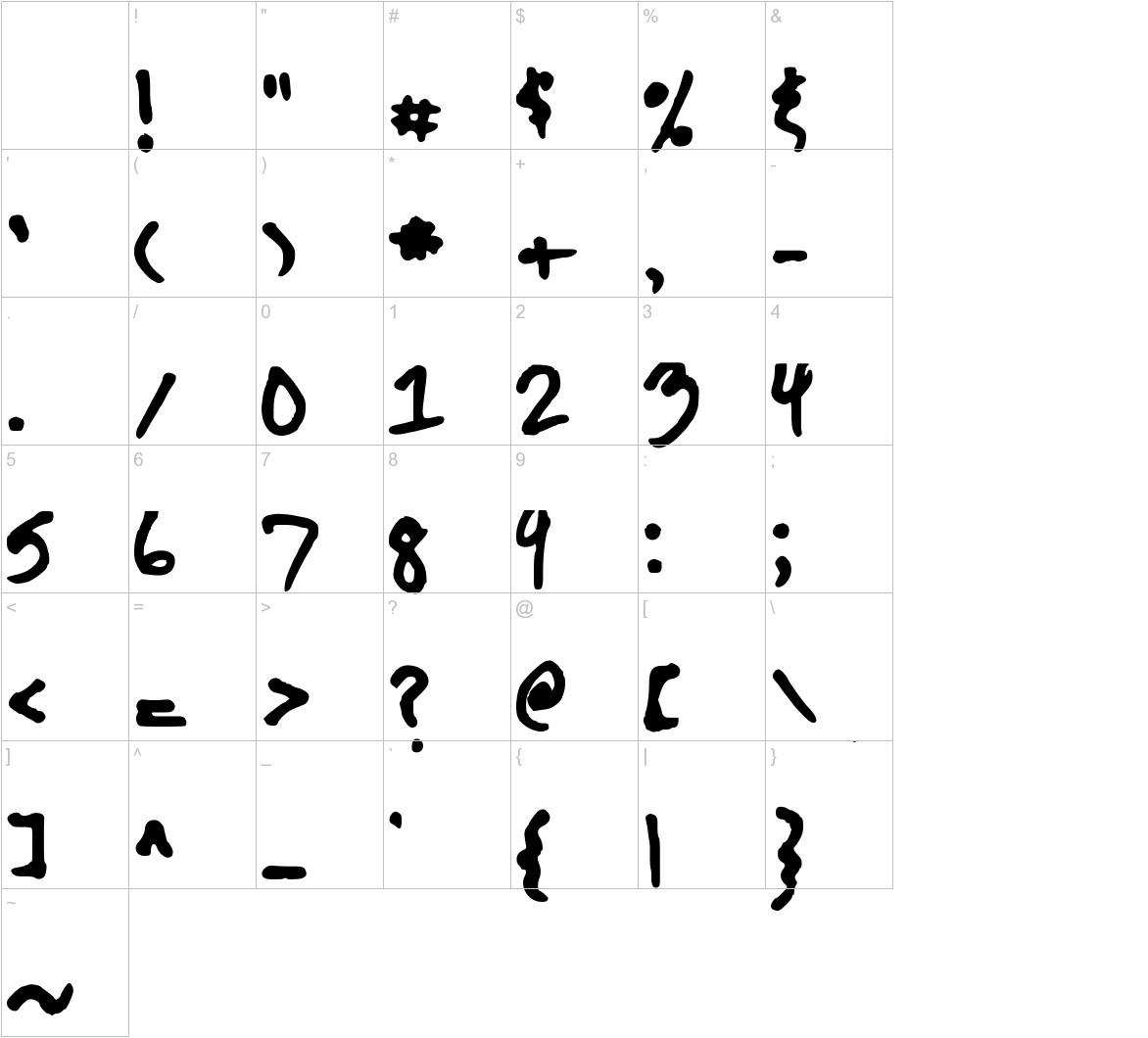 The Kool Font characters