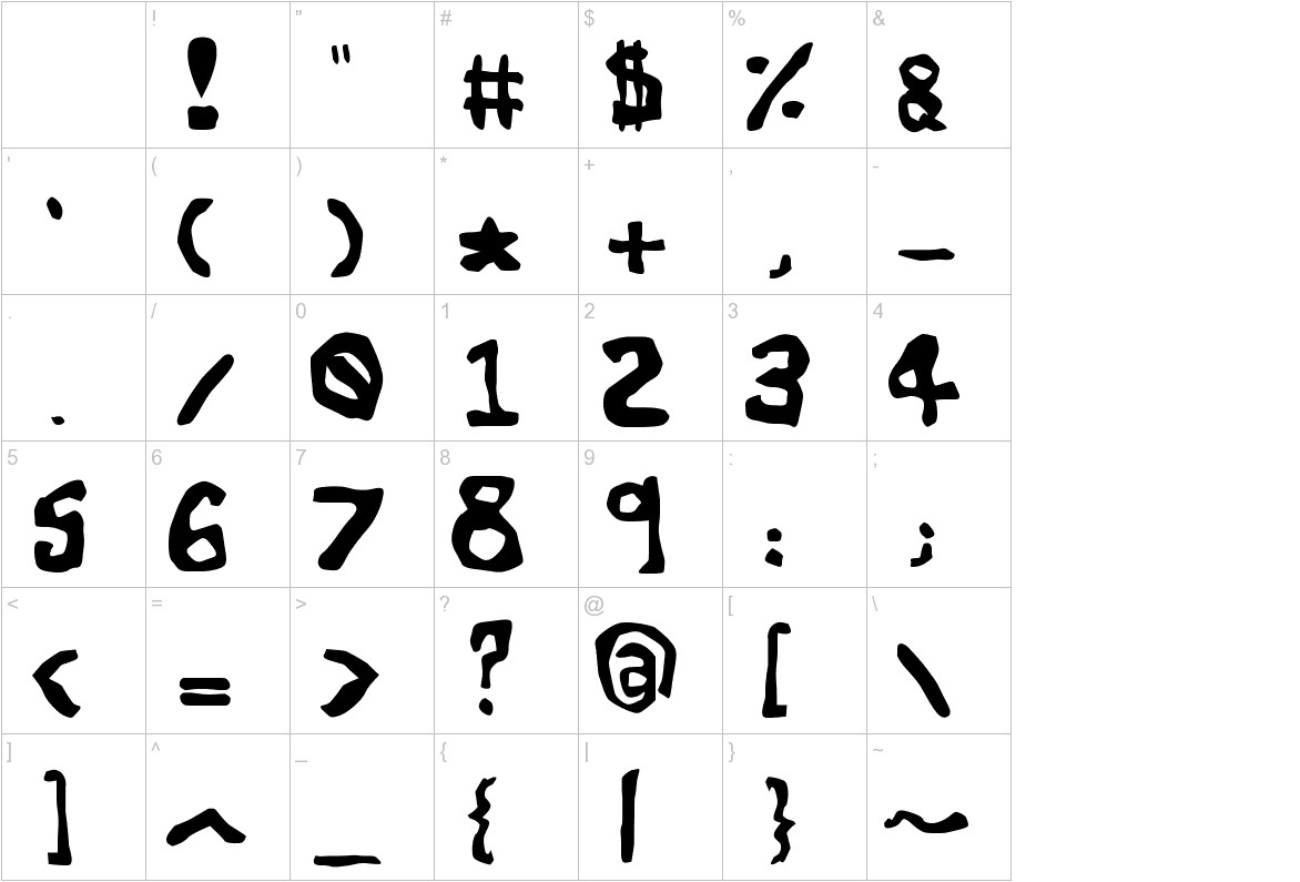 The World's Worst Font characters