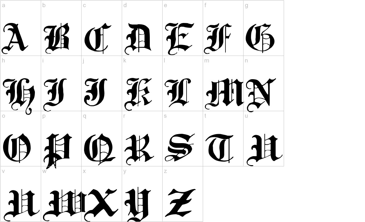 Traditional Gothic 17th c. lowercase