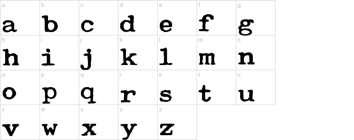 Typewriter Royal 200 lowercase