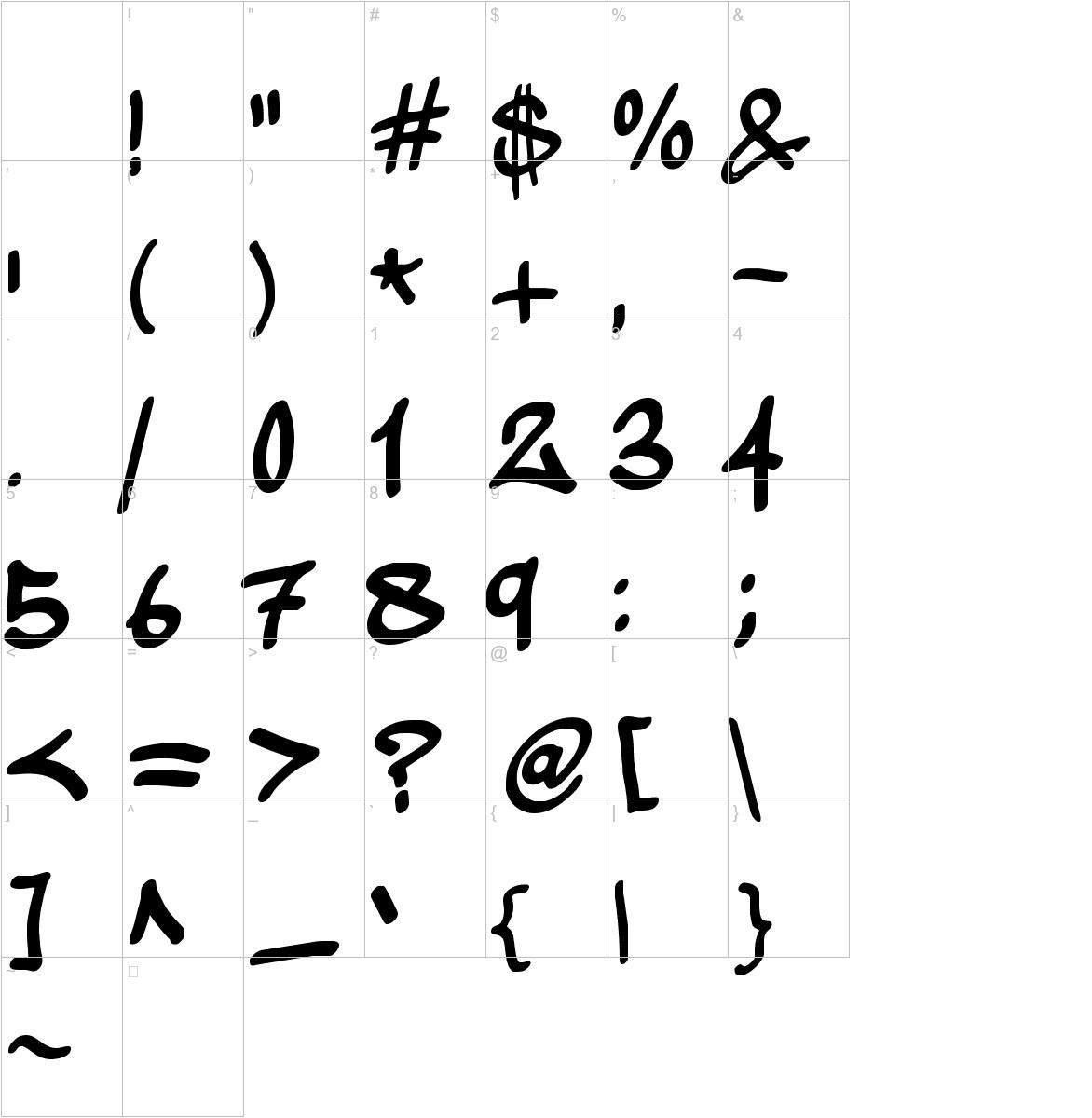 wickhop handwriting characters