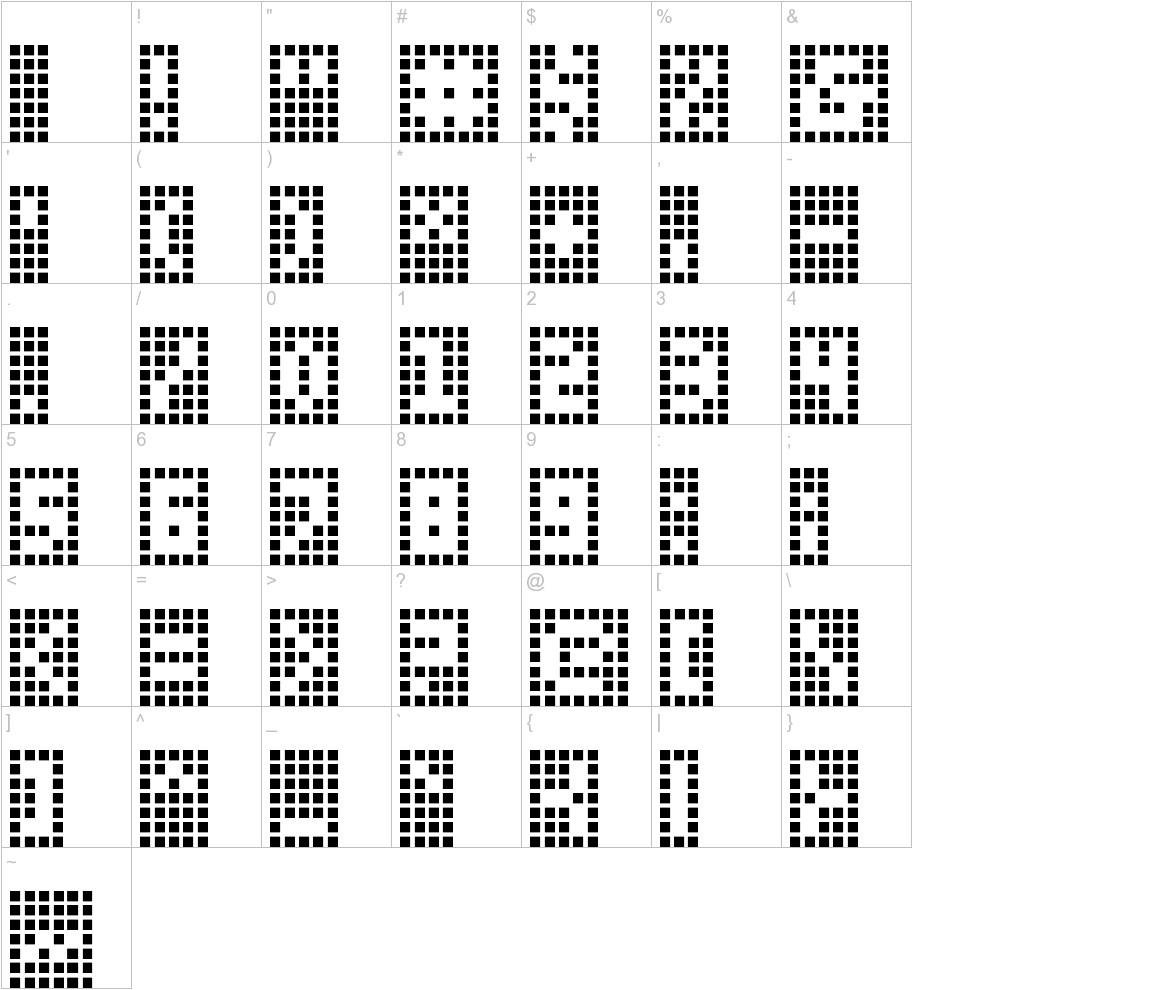 Y-Grid characters