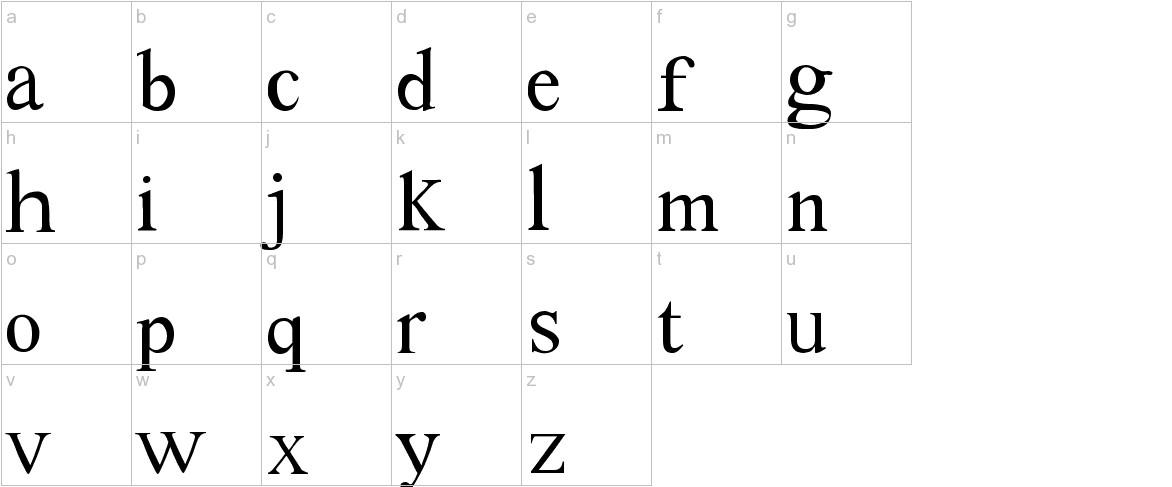 Tom's New Roman lowercase
