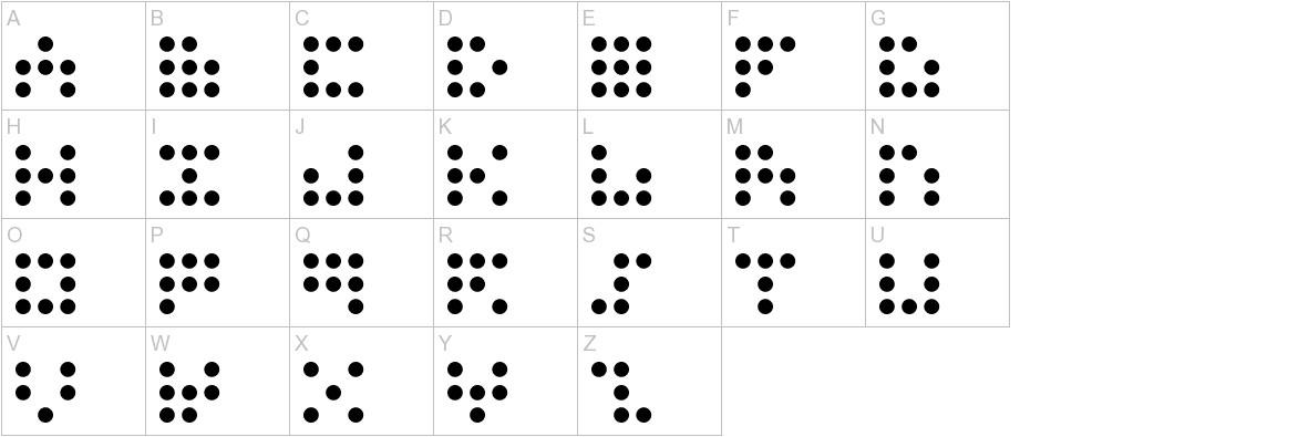 3x3 dots uppercase