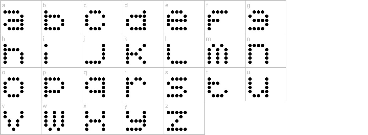5x5 Dots lowercase