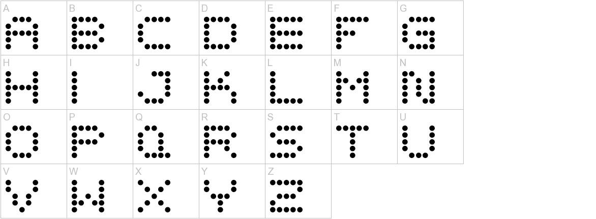 5x5 Dots uppercase