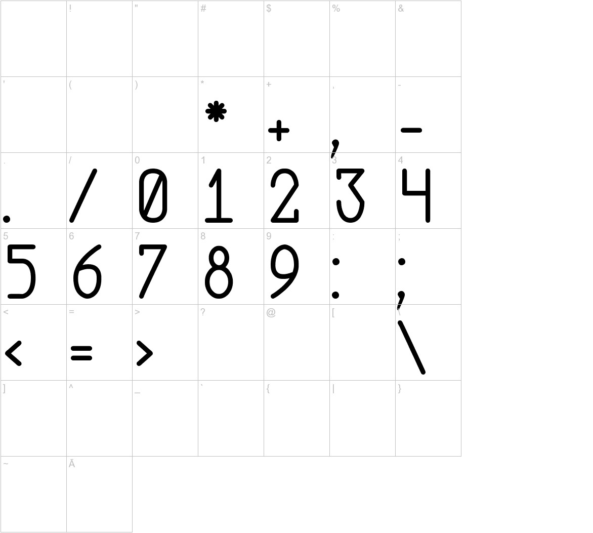 Abstrec font tfb characters