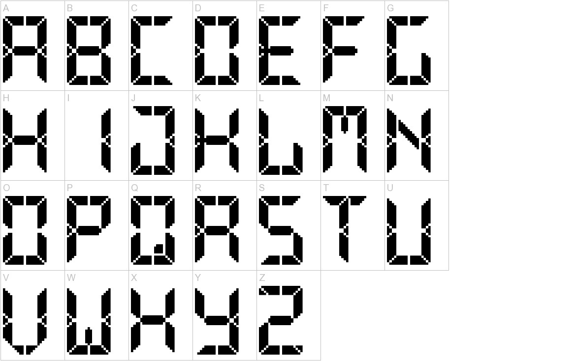 Advanced Pixel LCD-7 uppercase