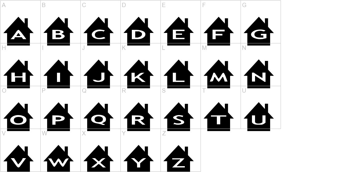 AlphaShapes houses uppercase