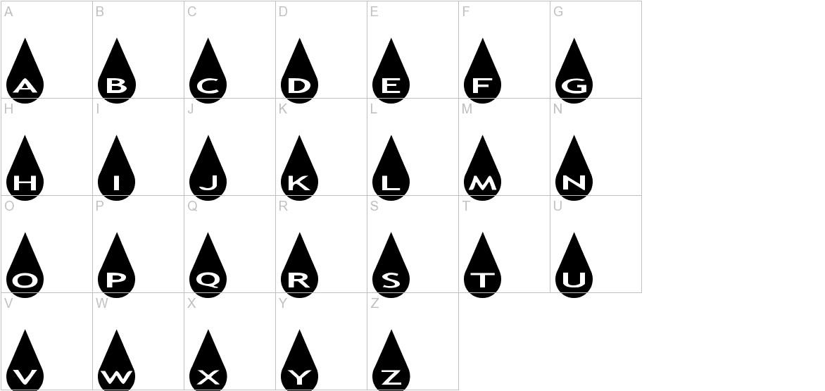 AlphaShapes raindrops uppercase