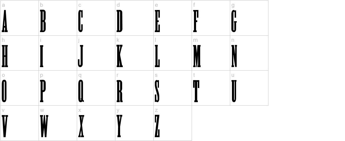 Alycidon Condensed lowercase