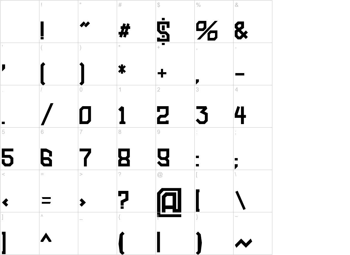 Amboss Display Condensed characters
