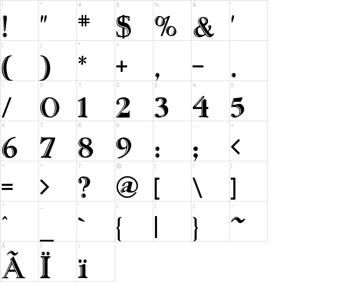 Ursa SerifEngraved characters