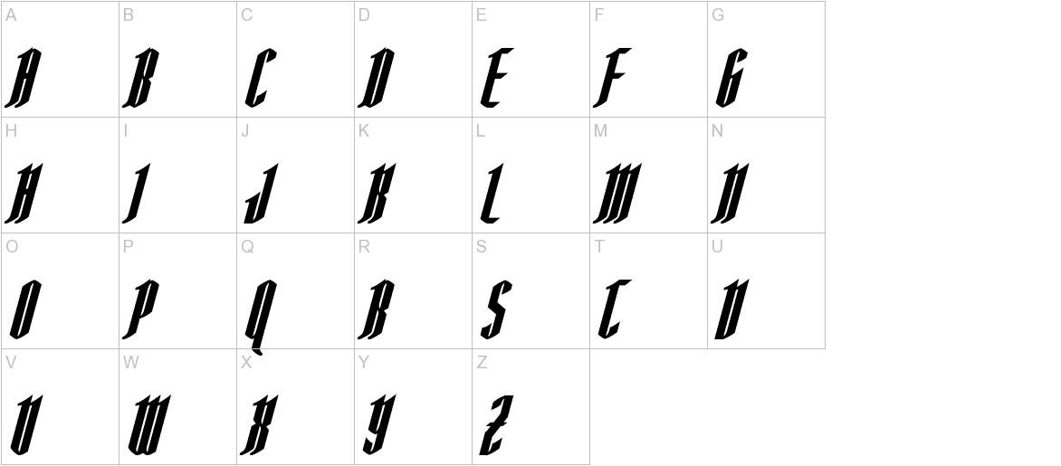 AngloYsgarth Bold Italic uppercase